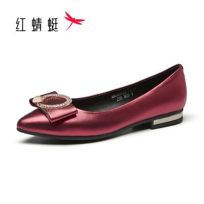 红蜻蜓皮鞋女春季牛皮红色女水钻低跟平底简约浅口尖头女单鞋皮鞋孕妇鞋妈妈鞋