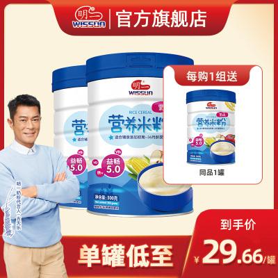明一 婴幼儿米粉辅食米糊 果味营养米粉500g*2罐