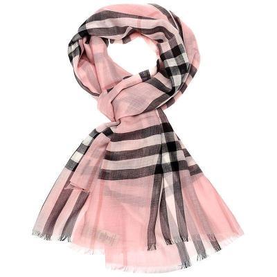BURBERRY 博柏利 女士格纹丝毛混纺轻质围巾 40013631