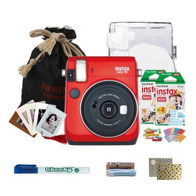 富士(FUJIFILM)INSTAX 一次成像相机立拍立得 mini70相机 烈焰红 精美套餐三(含30张胶片)