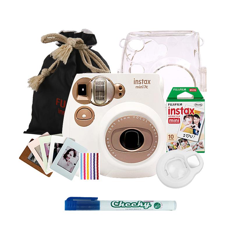 富士(FUJIFILM)INSTAX 一次成像相机立拍立得 mini7c胶片相机 奶咖色实用套装一(含10张白边相纸)