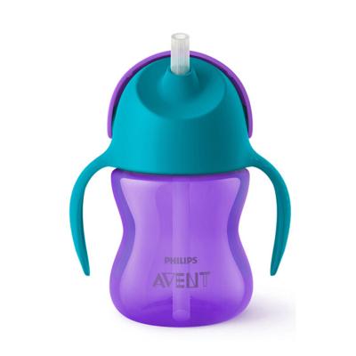 飞利浦 AVENT 水杯 新安怡七安士200ml PP材质 (9-12个月+) 卡通吸管杯紫SCF793/02