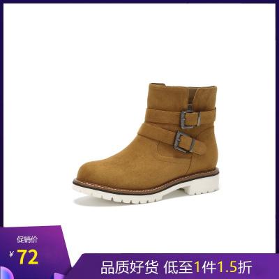 Daphne/达芙妮冬季新款女短靴复古百搭皮带扣圆头女靴1017605291