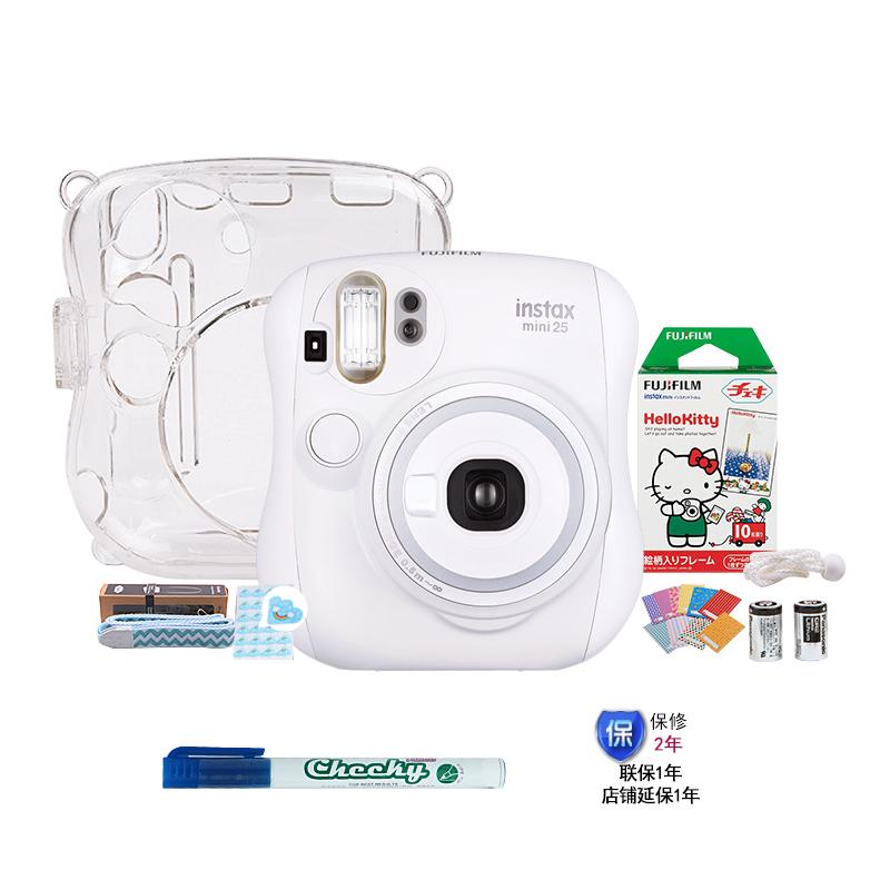 富士(FUJIFILM)INSTAX 一次成像相机立拍立得 mini25相机 白色 精美套餐(含10张胶片)