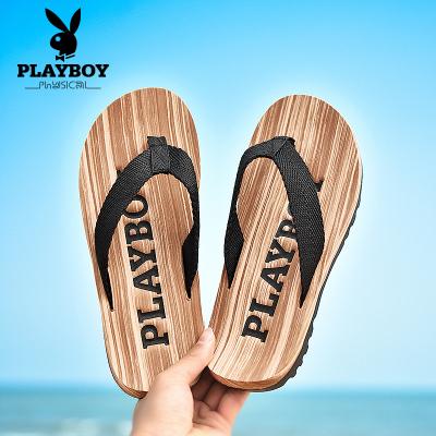 花花公子(PLAYBOY)拖鞋男士夏季人字拖凉鞋防滑夹拖厚底沙滩鞋潮夹脚拖黑色