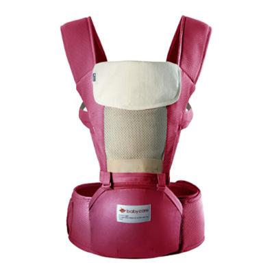 babycare 透气多功能婴儿背带前抱式宝宝腰凳 巴基斯坦棉纱材质 红色 9821超透款