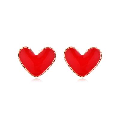 【中国黄金】18K金小红心耳钉耳饰 红色心形耳饰 K金耳饰 (定价)
