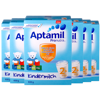 6罐装   【均衡营养】Aptamil 德国爱他美 儿童配方奶粉 易乐罐 2+段/5段(2岁以上)600g/罐 纸盒装