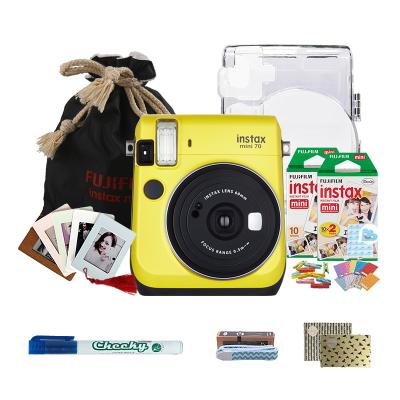 富士(FUJIFILM)INSTAX 一次成像相机立拍立得 mini70相机 暖日黄 精美套餐三(含30张胶片)