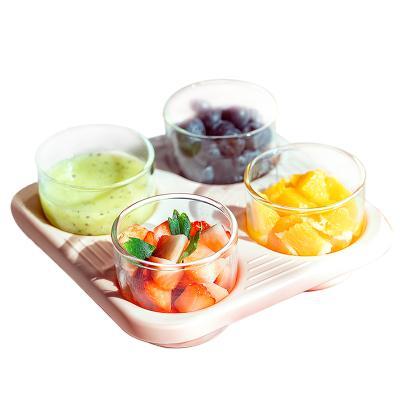 小白熊宝宝玻璃辅食盒 宝宝零食盒保鲜盒婴童保鲜盒 便携辅食餐具09798