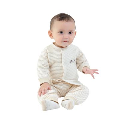 亿婴儿 彩棉婴儿保暖内衣对襟套装肩开扣套装秋冬加厚新生儿衣服2273