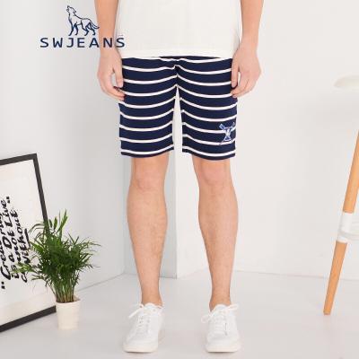 七匹狼SWJEANS夏新款男士休闲针织裤男美式条纹修身合体五分短裤男藏青