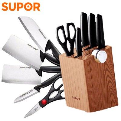 苏泊尔(SUPOR)刀具TK1520Q尖锋系列刀具七件套 30Cr13不锈钢材质 固定磨刀器